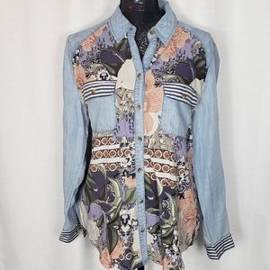 Chicos Chambray Floral Button Up Shirt 1